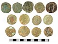 Part of a Roman sesterces coin hoard obverse view (FindID 477845).jpg