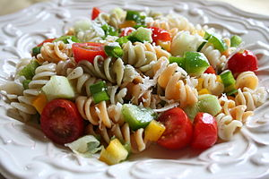 Pasta salad close-up.