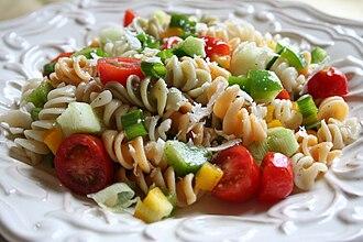 Pasta salad - A pasta fredda with fusili pasta, tomato and vegetables