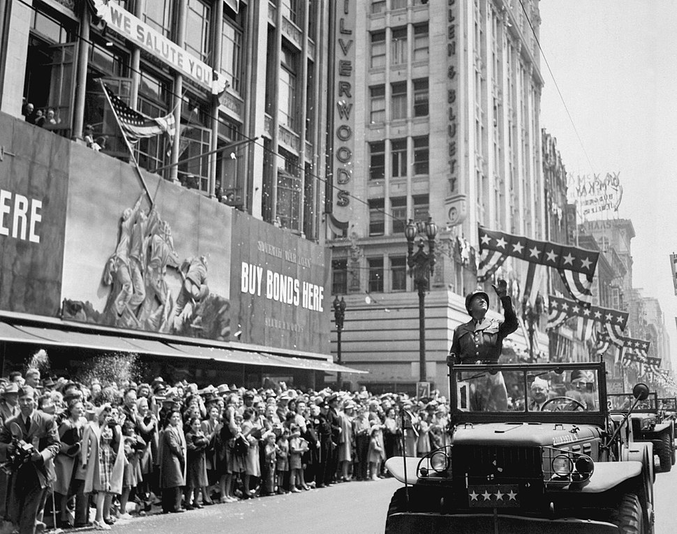 Patton during a welcome home parade in Los Angeles, June 9, 1945