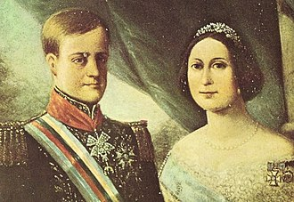 Consolidation of Pedro II of Brazil - Pedro II and Teresa Cristina soon after their marriage, 1843.