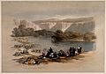 People bathing in the river Jordan. Coloured lithograph afte Wellcome V0014688.jpg