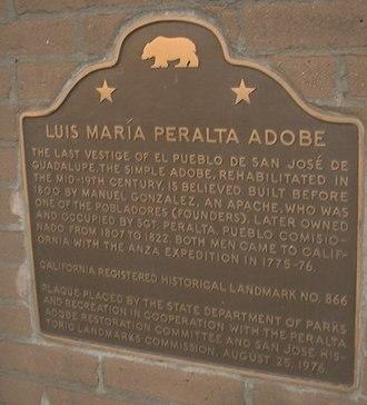 Peralta Adobe - Image: Peralta Adobe Plaque cropped