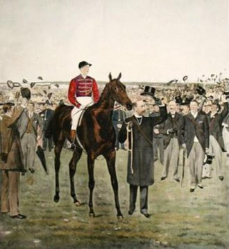 Persimmon (horse) - Persimmon is led in by his owner after the Derby