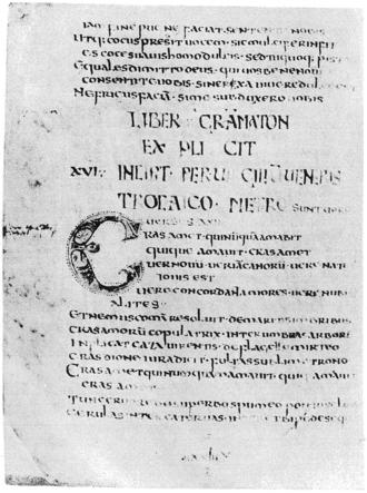 Pervigilium Veneris - Beginning of the poem in the Codex Salmasianus