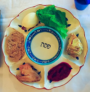 English: Passover plate with symbolic foods: m...