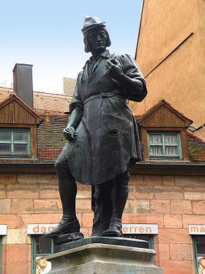 Peter Henlein - Monument to Henlein by Max Meißner, in Hefnersplatz, Nuremberg
