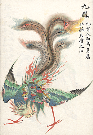 Classic of Mountains and Seas - Classic of Mountains and Seas illustration of a nine-headed phoenix (colored Qing dynasty edition)