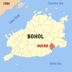 Map of Bohol showing the location of Duero