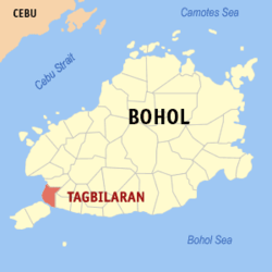 Map of Bohol showing the location of Tagbilaran