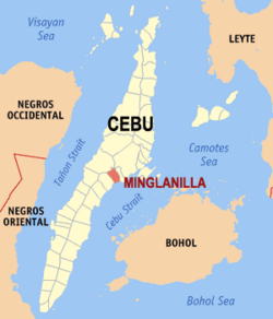 Map of Cebu with Minglanilla highlighted
