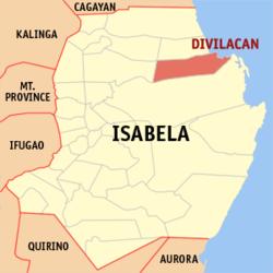 Bản đồ Isabela với vị trí của Divilacan.