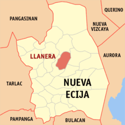 Map of Nueva Ecija showing the location of Llanera