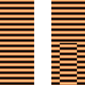 Phase (waves) - Left: the real part of a plane wave moving from top to bottom. Right: the same wave after a central section underwent a phase shift, for example, by passing through a glass of different thickness than the other parts.