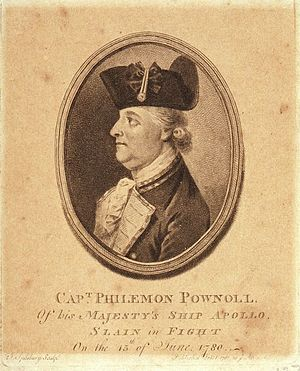 Philemon Pownoll - Memorial engraving entitled 'Capt Phileman Pownoll of his Majesty's Ship Apollo slain in Fight On 15 June 1780'