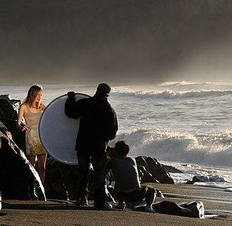 """Reflector (photography) - A portable folding reflector positioned to """"bounce"""" sunlight onto a model"""