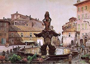 Piazza Barberini - Piazza Barberini, painted by Ettore Roesler Franz around 1880, featuring the Triton Fountain