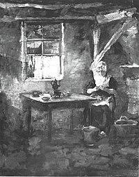 Piet Mondriaan - Farm interior with woman peeling potatoes - A146 - Piet Mondrian, catalogue raisonné.jpg