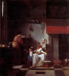 Pieter de Hooch: Interior of a Kitchen with a Woman, a Child and a Maid