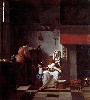 Interior with a Child Feeding a Parrot - Image: Pieter de Hooch Interior of a kitchen with a woman, a child and a maid