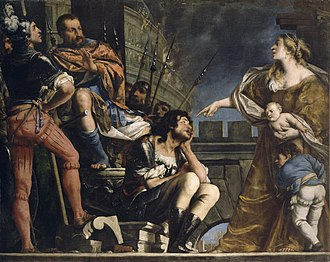 Hasdrubal the Boetharch - Hasdrubal's wife denouncing her husband before Scipio Africanus by Pietro della Vecchia, c. 1650