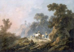 Jean-Baptiste Pillement - Jean-Baptiste Pillement - Landscape with cattle (Louvre)