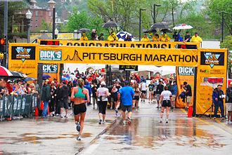 Pittsburgh Marathon - Finish line of the Pittsburgh Marathon in 2010.
