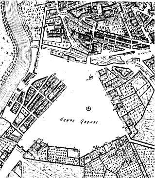 El Campo Grande en un plano de Valladolid de 1738. Durante los siglos XV y XVI, la ciudad se extendió por esta zona rodeándose de edificios. La disposición triangular de éstos parece deberse a que los edificios se orientaron siguiendo la linea de los ríos.