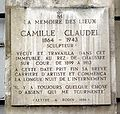 Plaque Camille Claudel, 19 quai de Bourbon, Paris 4.jpg