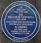 Plaque Commemorating Malcolm Campbell, Tilgate Lake (Campbell's Lake), Tilgate Park, Crawley - geograph.org.uk - 80328.jpg