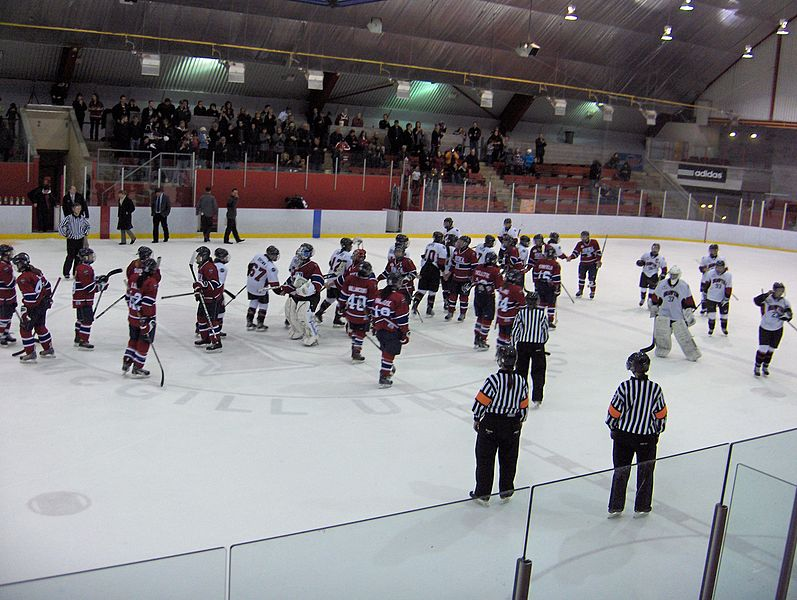 CWHL Montreal and Brampton game with players on ice