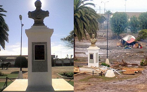 The Arturo Prat square was severely damaged by the earthquake and later by the tsunami. In the left picture, can be seen some kiosks, all of them were destroyed, as can be seen on the right picture. Image: Diego Grez.