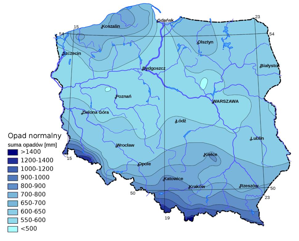 Polska opad roczny