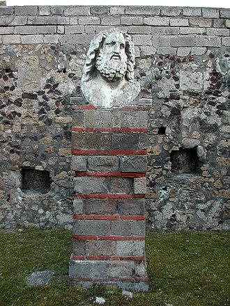 Temple of Jupiter (Pompeii) - Bust of Jupiter at north end of Temple.