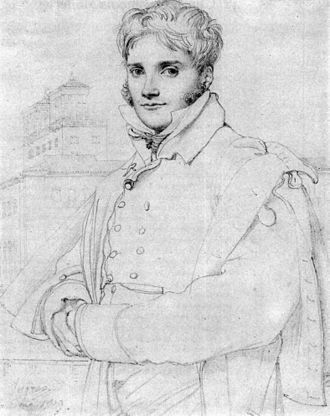 French Academy in Rome - Portrait of Prix de Rome winner and fellow student Merry-Joseph Blondel in front of the Villa Medici in 1809, by Ingres