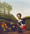 Portret van een jonge vrouw met vruchtenstilleven in een landschap door Anna Cornelia Holt (1686).png