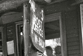 Mount Baldy, California - Mount Baldy post office sign, about 1953