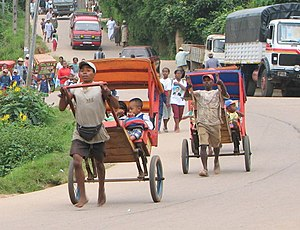 Pulled rickshaw - Pousse-pousse in Madagascar