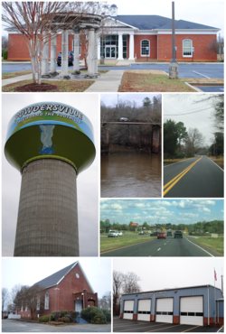 Top, left to right: Powdersville Branch Library, water tower, Saluda River, Powdersville Main, Highway 153, Bethesda Church, Powdersville Volunteer Fire Department