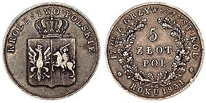 Kraków złoty - The Polish złoty issued in 1831 during the November Uprising. Design of the Kraków złoty mirrors a significant resemblance to the Polish złoty