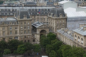 Paris Police Prefecture - East facade, Préfecture de police and, on the right, Hôtel-Dieu hospital, seen from Notre-Dame de Paris.