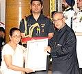 "Pranab Mukherjee presenting the ""Devi Ahilyabai Holkar Award"" to Konoklota Mahila Urban Co-Operative Bank, Assam, at the presentation of Stree Shakti Puraskar 2015, on the occasion of the International Women's Day.jpg"