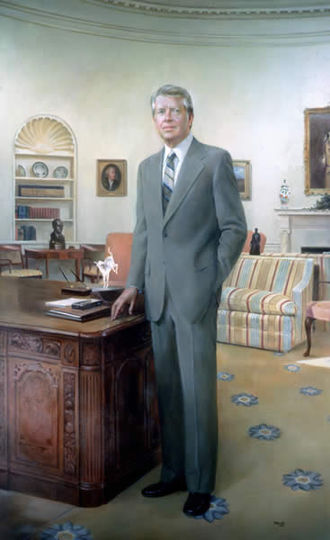 Jimmy Carter - Robert Templeton's portrait of President Carter, displayed in the National Portrait Gallery, Washington DC