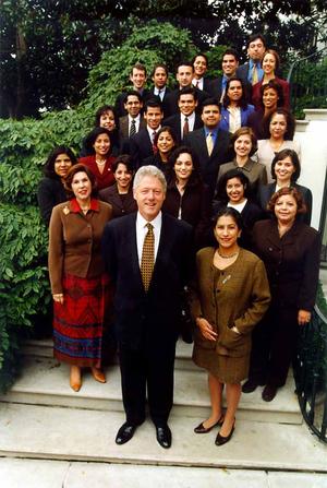 Maria Echaveste - Echaveste (right) with President Clinton