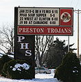 Preston Iowa 20090125 High School Sign.JPG