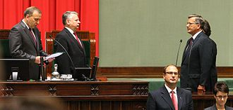Oath -  Bronisław Komorowski taking presidential oath in front of National Assembly, 2010