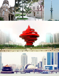 Clockwise from top left: A Stone building in Ba Da Guan, A house in the old section of Qingdao, Qingdao TV Tower, May Fourth Square and Zhan Qiao Pier, 4 May Square