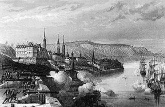 History of Quebec City - The batteries of Quebec fire on English ships in the 1690 Battle of Quebec. The French rebuffed English attempts to invade during the Nine Years' War.