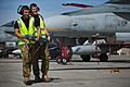 RAAF ground crew with a practice missile during a Red Flag exercise in the US.JPG