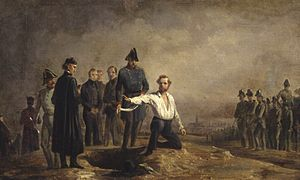 Vienna Uprising - Execution of Robert Blum, painting by Carl Steffeck